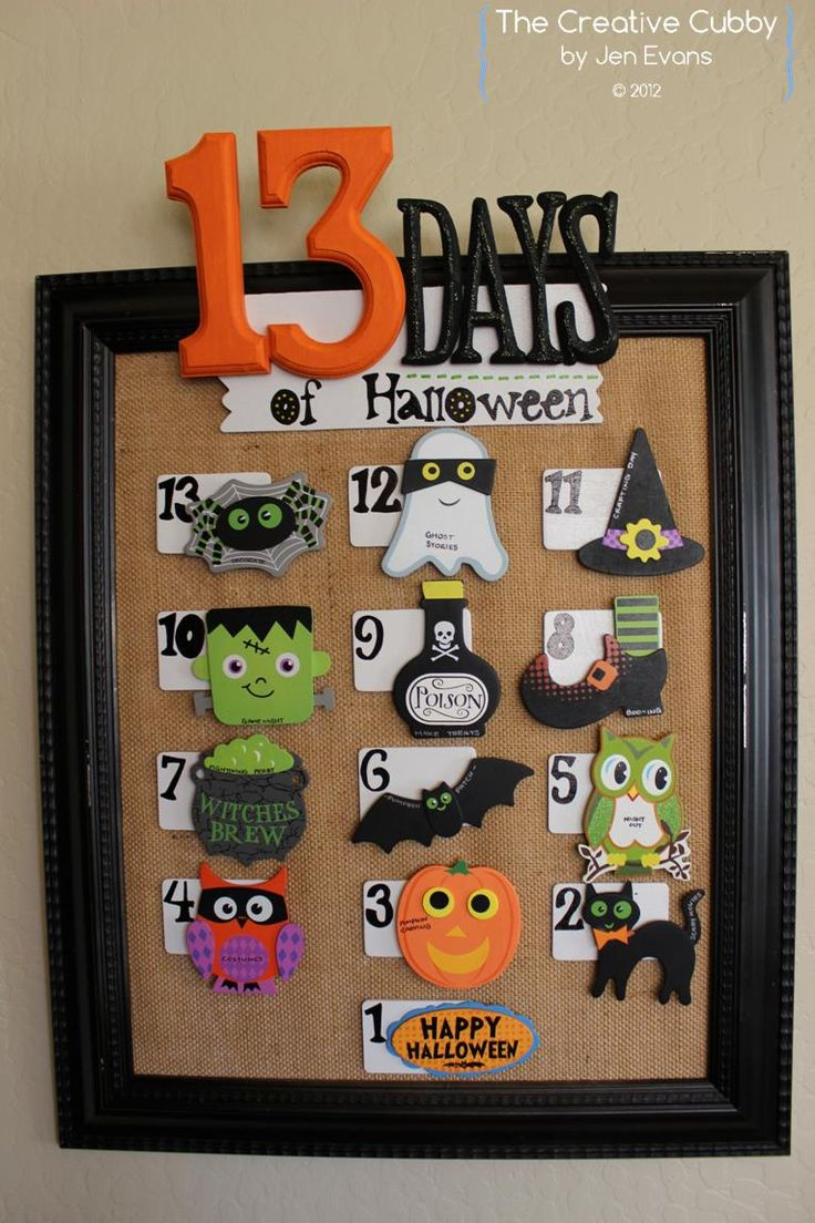 DIY 13 Days of Halloween Countdown Calendar - activities are attached with magnets so they can be changed from year to year. All materials from @Michaels Stores #halloween