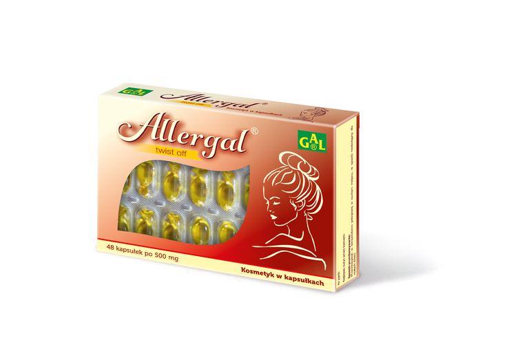 ALLERGAL // Kosmetyki w kapsułkach typu TWIST OFF. Doskonały kosmetyk pielęgnacyjny, szczególnie dla skóry wrażliwej oraz z problemami alergicznymi. Preparat zawiera zimnotłoczony olej z nasion wiesiołka o wysokiej zawartości NNKT, w tym kwasów cis-linolowego oraz gamma-linolenowego. Odżywia i nawilża Działa ochronnie na skórę. http://www.gal.com.pl/produkty/kosmetyki/allergal.html