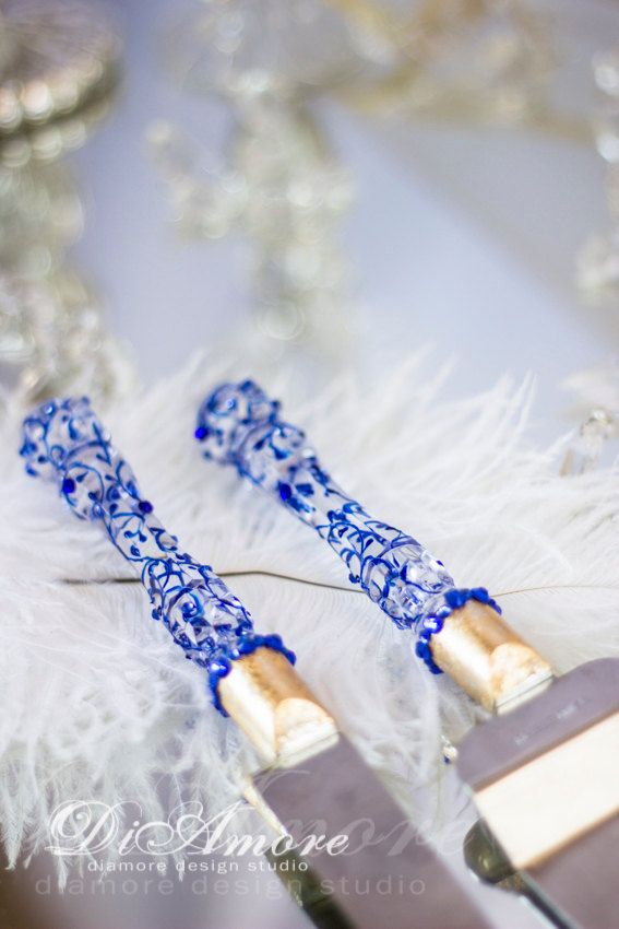 Royal blue and Gold wedding cake server and knife by DiAmoreDS