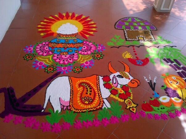 Make These Amazingly Beautiful Pongal Kolam Designs During Festival Free Hand Rangoli Can Be Easily Made Using Coloful Powder