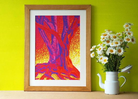 Reduction Linocut Art Print Tree by Eveline van der Eijk