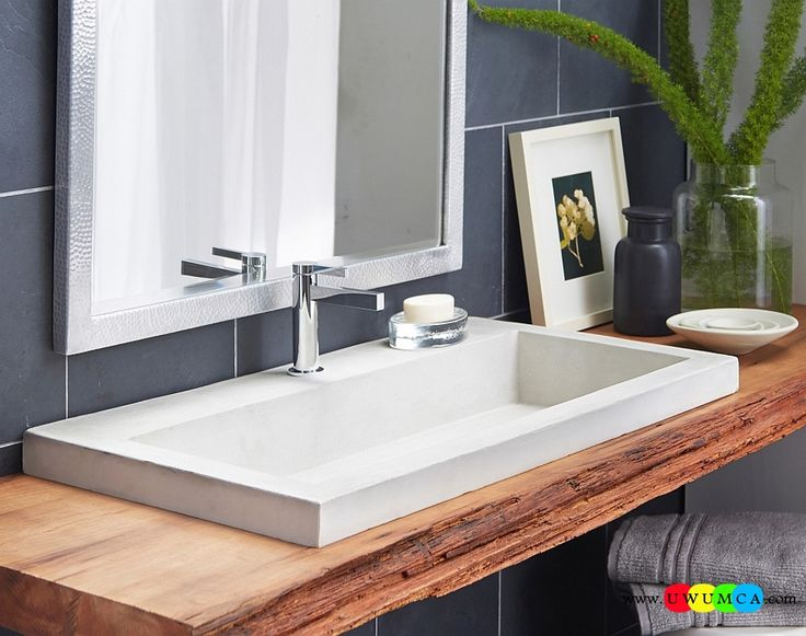Bathroom:Contemporary Modern Artisan Crafted Sinks Handcrafted Vessel Metal Sink Bathroom Interior Furniture Decor Design Ideas White Bathroom Sink On A Floating Wooden Vanity Eco-Conscious, Artisan Crafted Sinks Sparkle With Contemporary Class