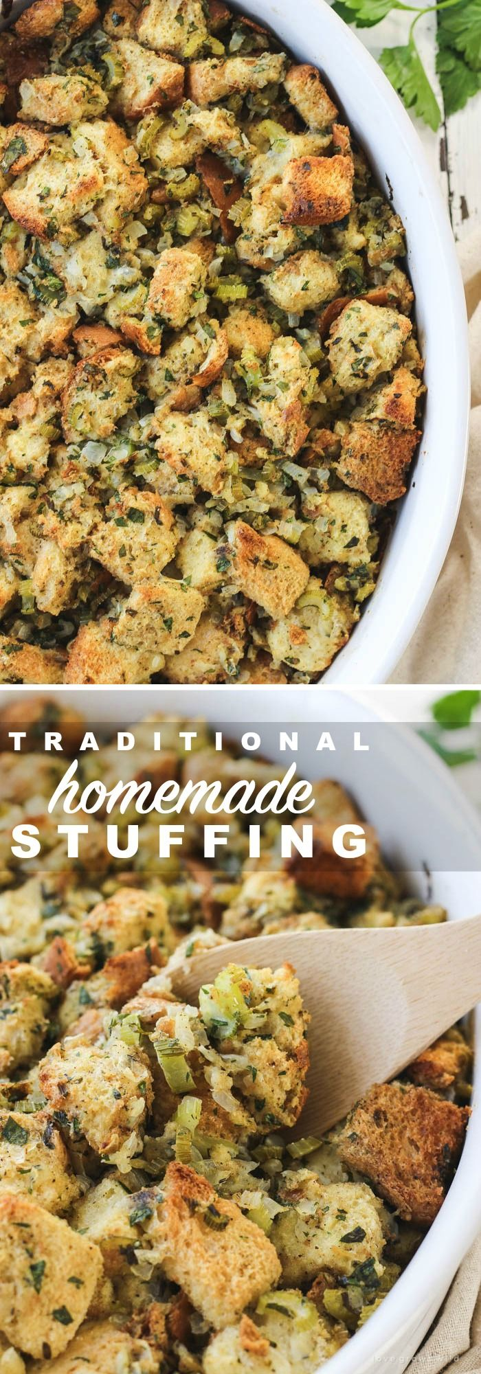 Traditional Homemade Stuffing - This simple stuffing recipe is a MUST for the holidays! Get the recipe at LoveGrowsWild.com