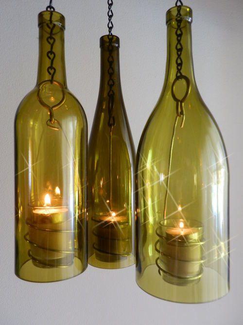 ~BoMoLuTra~ Wine Bottle Art Hanging Hurricane Lantern | eBay