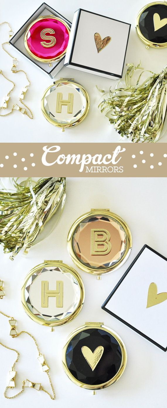 A Unique Bridesmaid Gift Idea Personalized Monogram Compact Mirrors In Crystal Colors