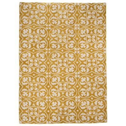 Threshold™ Lattice Area Rug - Yellow dining room? is very comfy to touch - thomas likes it. will it be too yellow? especially on our hardwood floors... they are a bit more to the orange side rather than dark brown...