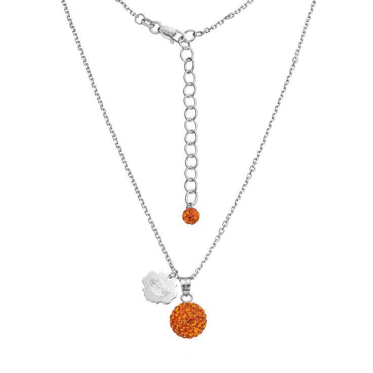 "Florida Gators Crystal Sterling Silver Team Logo & Ball Pendant Necklace, Women's, Size: 18"", Orange"