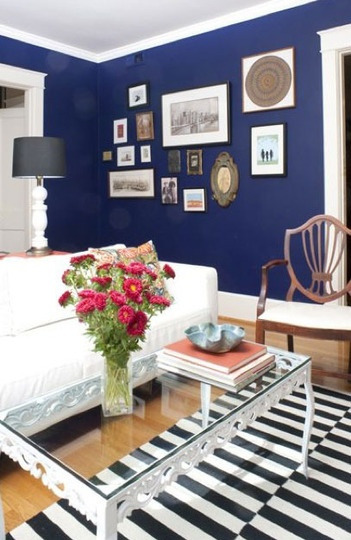 Navy paint. Love.: Wall Colors, Coffee Tables, Ikea Stockholm, Navy Wall, White Rug, Black And White Stripes Rooms, Black And White Stripes Rugs, Navy Blue Wall Living Rooms, Art Wall