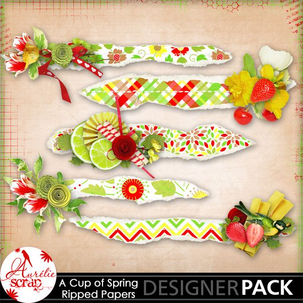 """Ripped embellished """"A Cup Of Spring"""" by Aurélie Scrap. A pack which will embellish your layouts. It contains : 5 ripped embellished papers"""