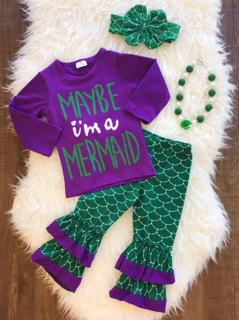 """""""Maybe I'm a Mermaid"""" Ruffle Pant Set #boutique-outfits #new #perfect-sets"""