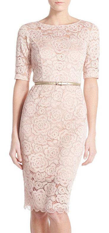 belted lace sheath dress by Ellen Tracy. Corded floral lace finely textures this pencil-cut dress offering tasteful peeks of skin at the neckline, sleeves and...