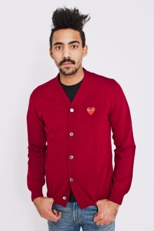 Comme des Garcons PLAY - Knitted Cardigan Burgundy #style #Tip #TiporSkip