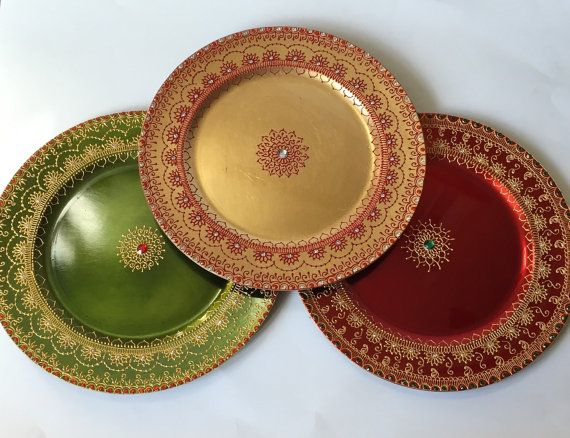 Beautiful HANDMADE Charger Plate/Henna Plate /Pooja by dotnswirls