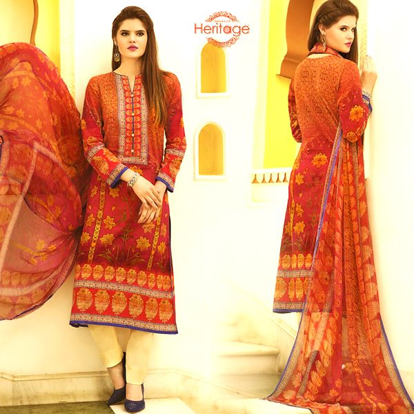 Shaded Maroon Cotton Printed Unstitched #SalwarKameez