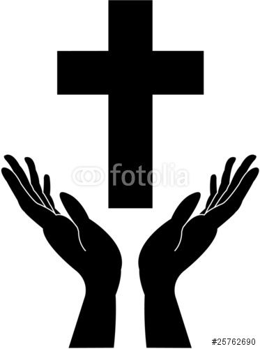"Cross silhouette and praying - careing hands - vector"" Stock image ..."