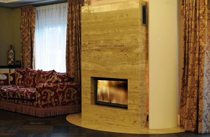 @imarpolska Przedsiębiorstwo Kamieniarskie:  Obudowa kominka wykonana z trawertynu Toscano. / Fireplace made of travertine #Toscano.