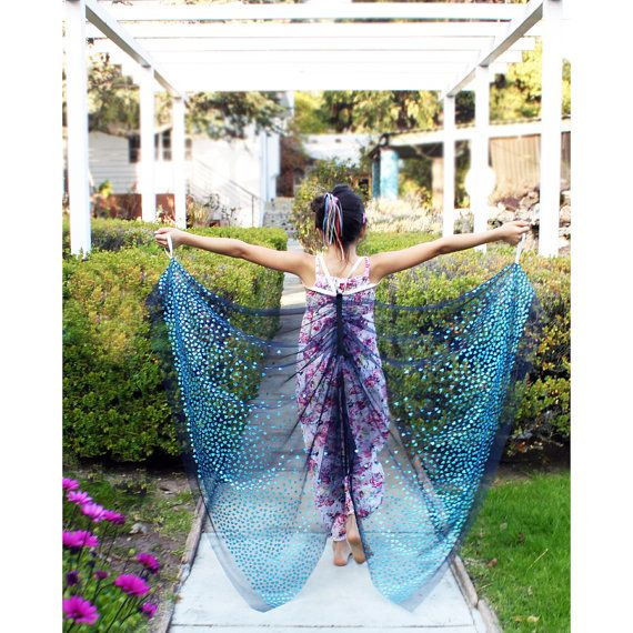 Brilliant ! ! ! No Wires, just Fun.... M ~ Kids Butterfly,  Fairy Costume Wings - Blue Turquoise Hearts - Sizes S M L