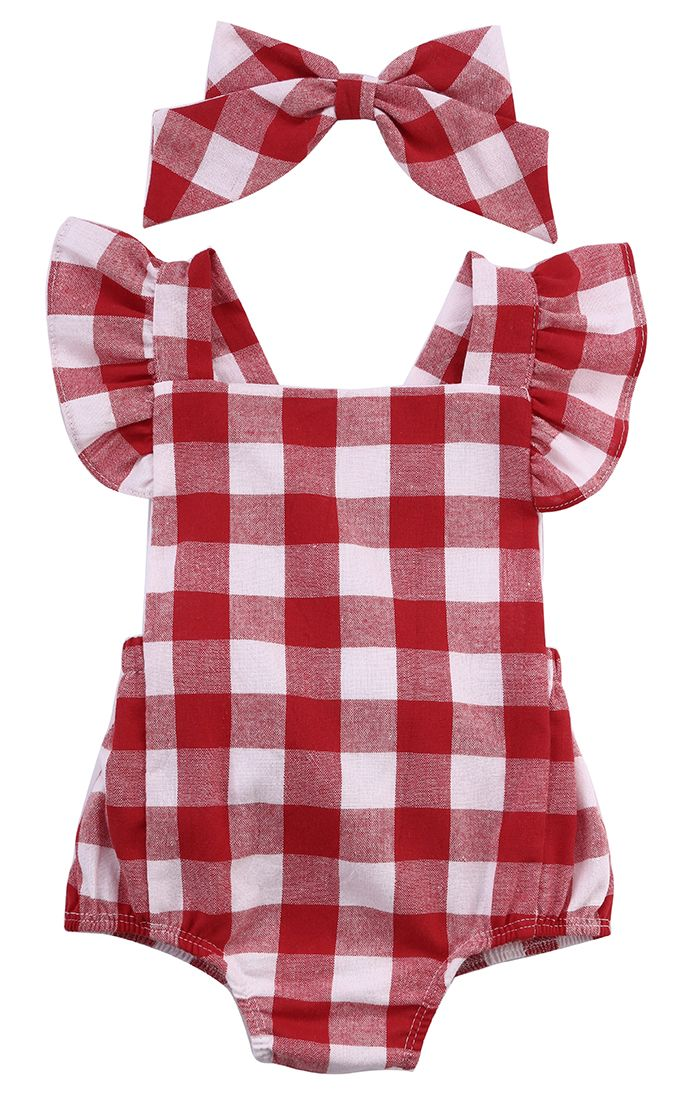 2016 Newborn Infant Kids Baby Girl Bodysuit 0-18M Cute Girls Toddler Kids Clothing Red Plaid Bebes Outfit Clothes