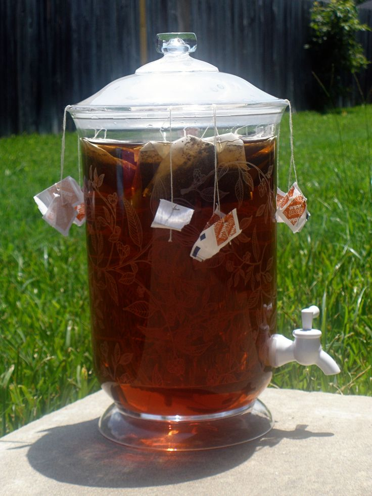 Sun tea - put a bunch of tea bags into a large (2 quart) jar, put outside and let the tea brew using the warmth of the summer sun. Description from pinterest.com. I searched for this on bing.com/images