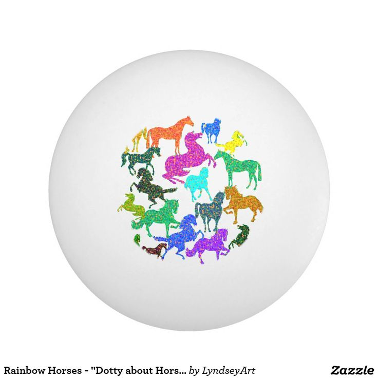 """Rainbow Horses - """"Dotty about Horses!"""" Love ping pong? Love horses? Here's a great combination! They'd make a great gift too :) LyndseyART"""