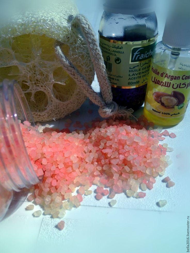 Купить соль для ванной Испанский персик. - бежевый, персик, апельсин, масло арганы