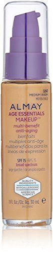 Almay Age Essentials Anti-Aging SPF 15 Foundation, 160 Medium Warm (Pack of 2). Almay Age Essentials Anti-Aging SPF 15 Foundation, 160 Medium Warm (Pack of 2).