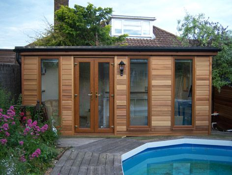 Garden studios: custom timber-framed buildings by Gembuild. Photo shows an extended Colgate 25 with cedar cladding in Brighton
