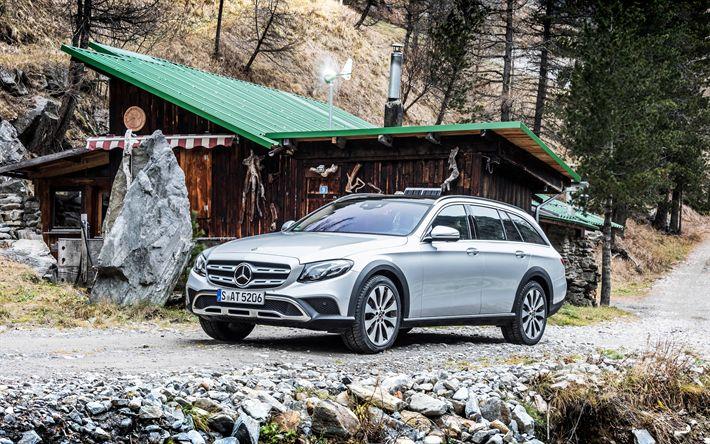 Download wallpapers Mercedes E-class All-Terrain, 2017, 4k, wagon, silver E-class, German cars, Mercedes