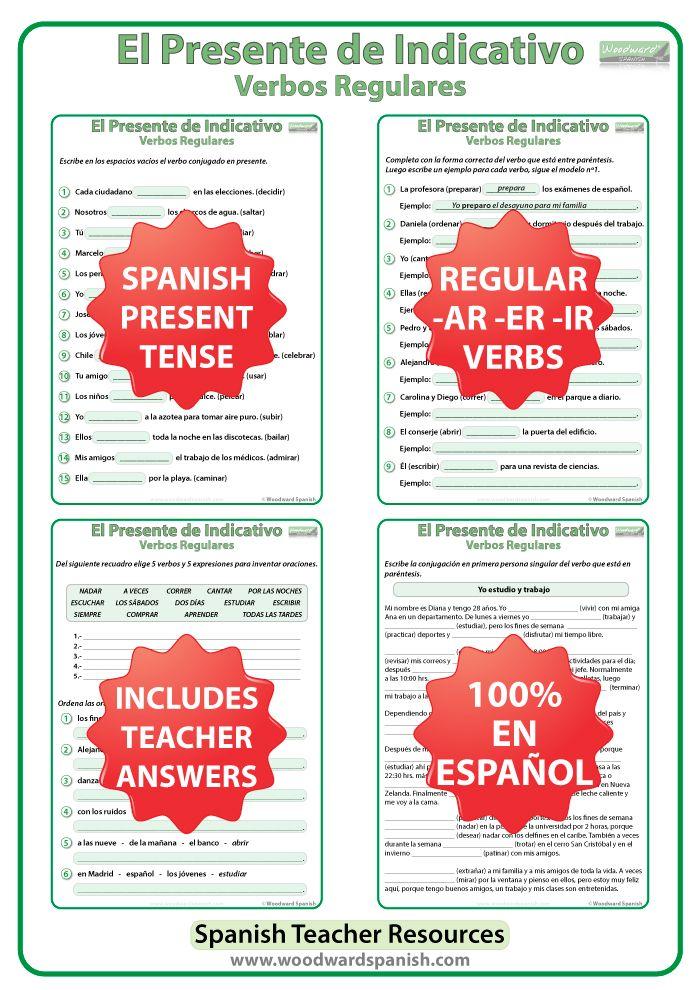 spanish present tense conjugation worksheets free printable spanish worksheetsspanish regular. Black Bedroom Furniture Sets. Home Design Ideas
