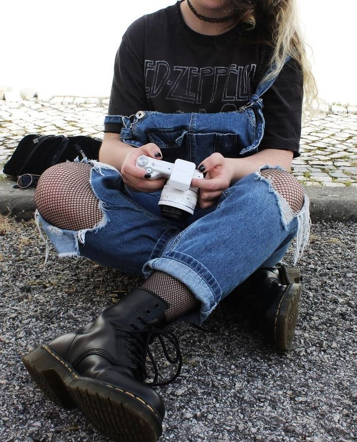 "Tattoo choker necklace with ""Led Zeppelin"" graphic printed tee, ripped denim overalls, tights & Dr Martens boots by plumpyprincess - #grunge #softgrunge #fashion #streetstyle"