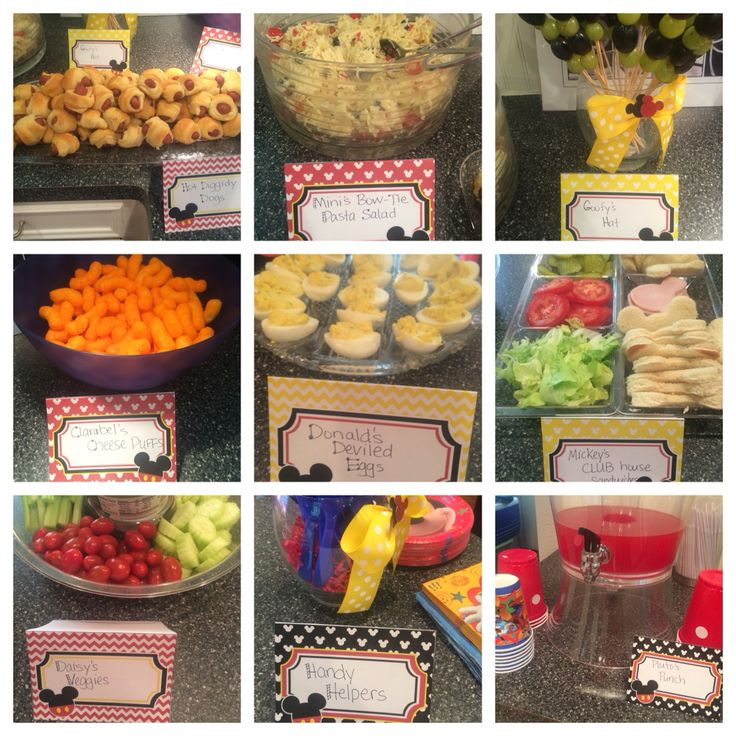 Mickey Mouse Clubhouse Birthday Party menu