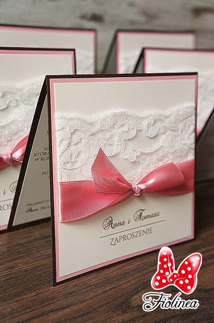 Fiolinea - Ślubna Galanteria Papiernicza: Romantyczne zaproszenia z nutką czekolady, brudnego różu i koronki