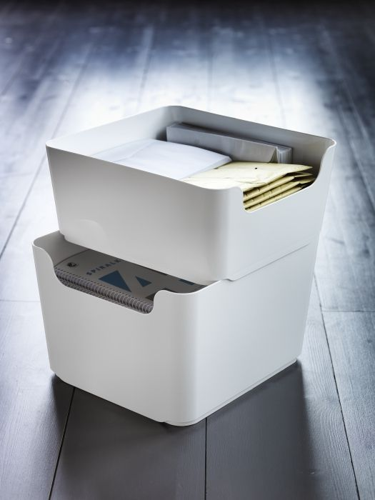 PLUGGIS stackable recycling bins are great for small spaces, and are themselves made from recycled PET plastic.