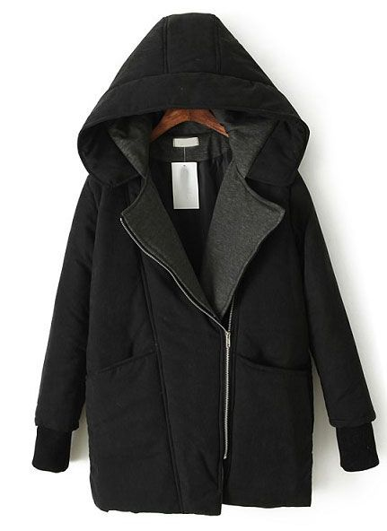 Black Hooded Long Sleeve Oblique Zipper Parka - Sheinside.com