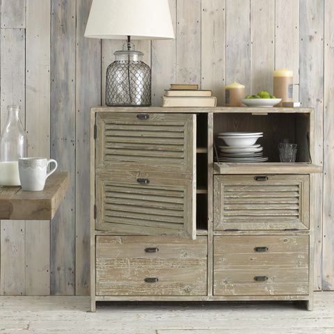 SUCRE. Inspired by beautiful old French window shutters, we think this sideboard would be just as happy in a study as it would be in a kitchen filled with plates. #BonjourBlighty #sideboard #wood