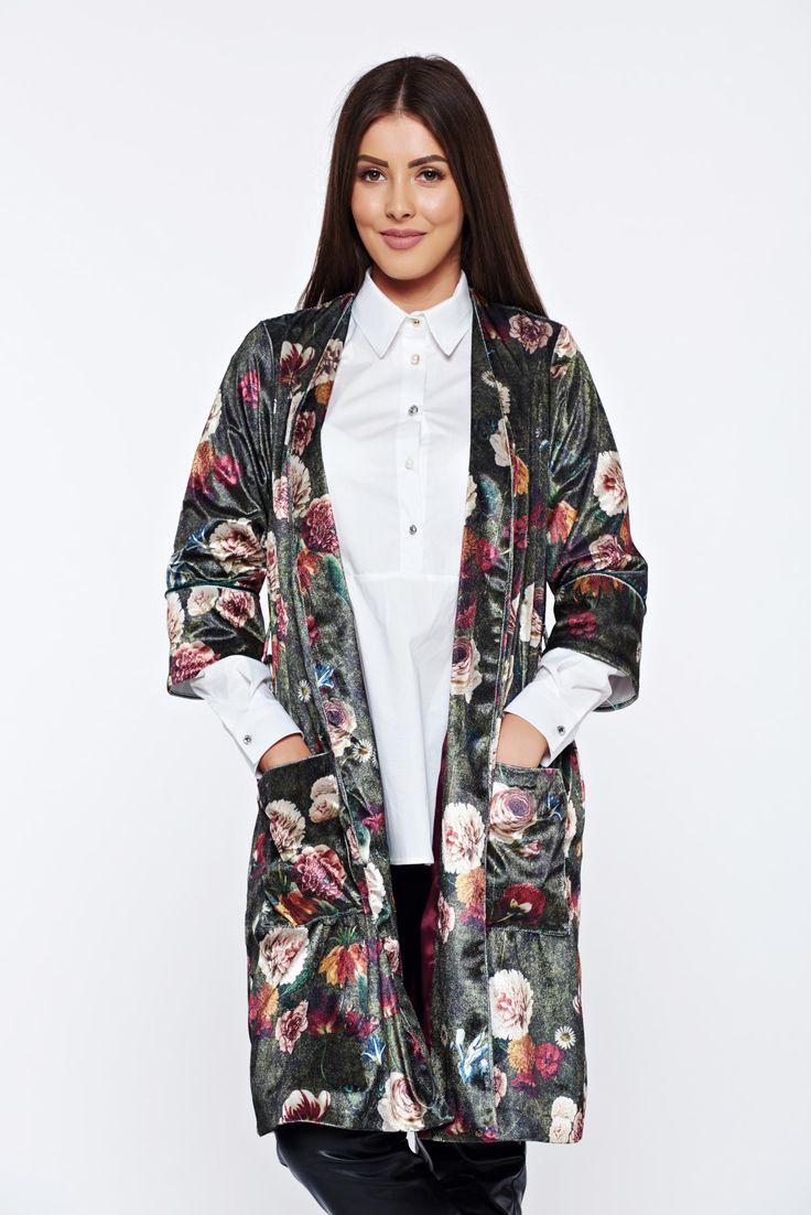 PrettyGirl green velvet casual jacket with floral prints, women`s jacket, inside lining, 3/4 sleeves, easy cut, floral prints, with pockets, velvet