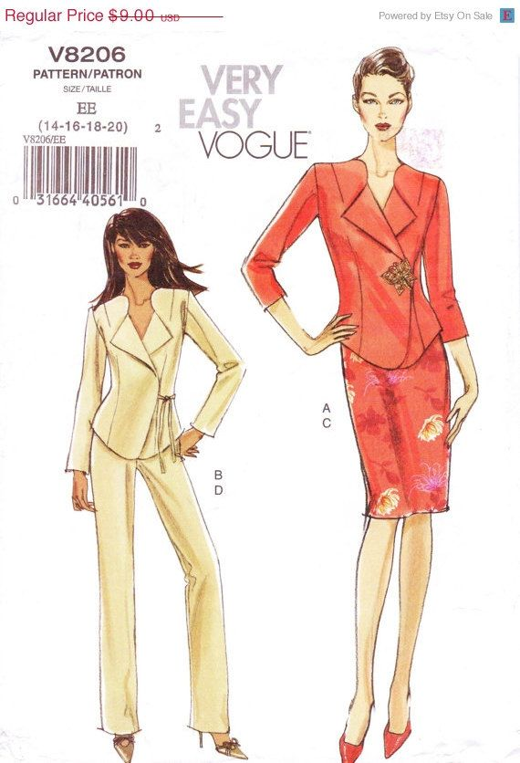 Very Easy Vogue Pattern V8206 Womens Jacket Skirt & by CloesCloset, $9.00