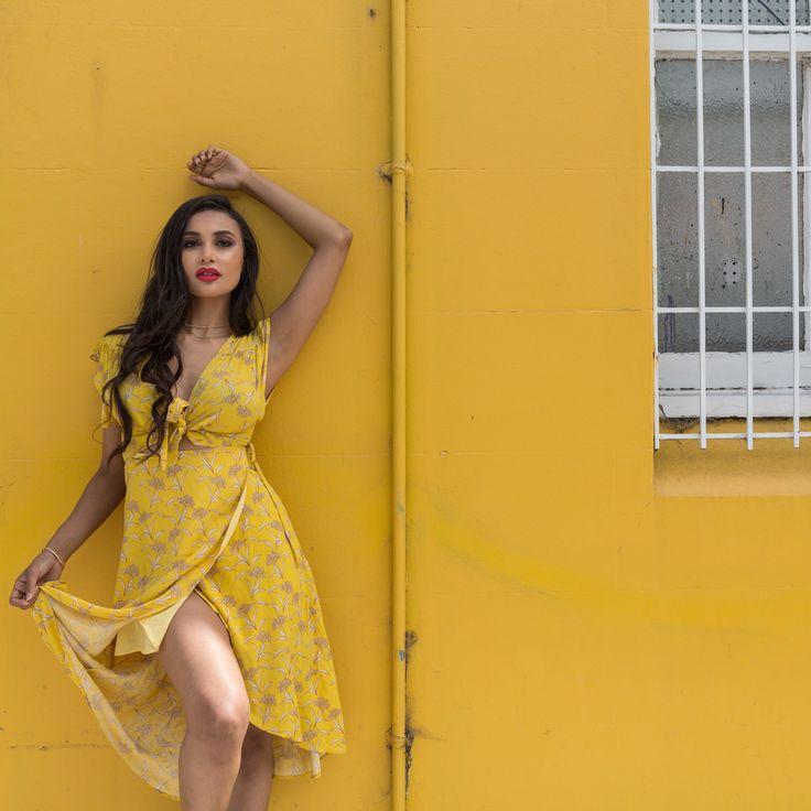 Shop Moroccan Spice wrap dress >>> https://www.urbansport.com.au/home/744-moroccan-spice-wrap-dress-with-tie-bust.html   #urbansport #yellow #dress #floral #wrapdress #datenight #datenightoutfit