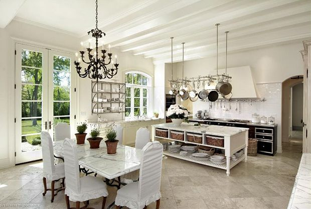French Country Kitchen Beamed | adore this French-inspired kitchen. The white beams,