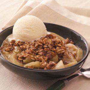 "Healthy Microwave Apple Crisp: make even healthier using 1 Tbs Honey instead of wt sugar & only 1/4 cup brown sugar. Add another tsp lemon juice (3 total) & 1 tsp allspice, double the cinnamon. (9"" pie pan) One cup equals 252 cal before changes. Tip: Serve with fat-free cottage cheese instead of ice cream, tastes like cheese danish and much healthier!"