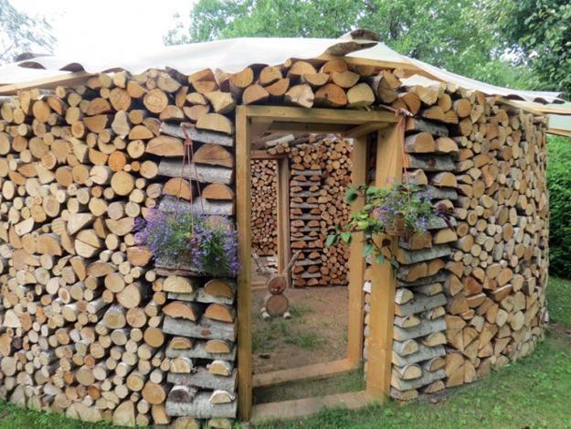 Best Wood And Trashcan Storage Images On Pinterest Firewood - Creative firewood storage ideas turning wood beautiful yard decorations