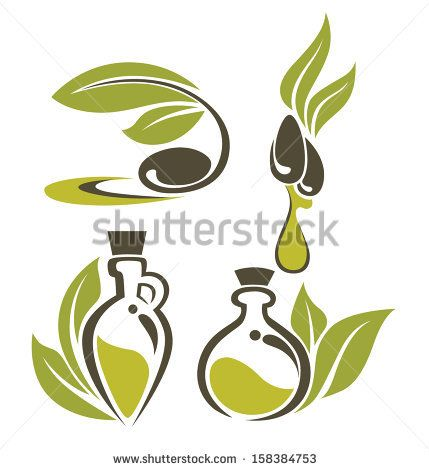 green olive, leaves, bottles and oil , vector collection of signs, symbols and icons