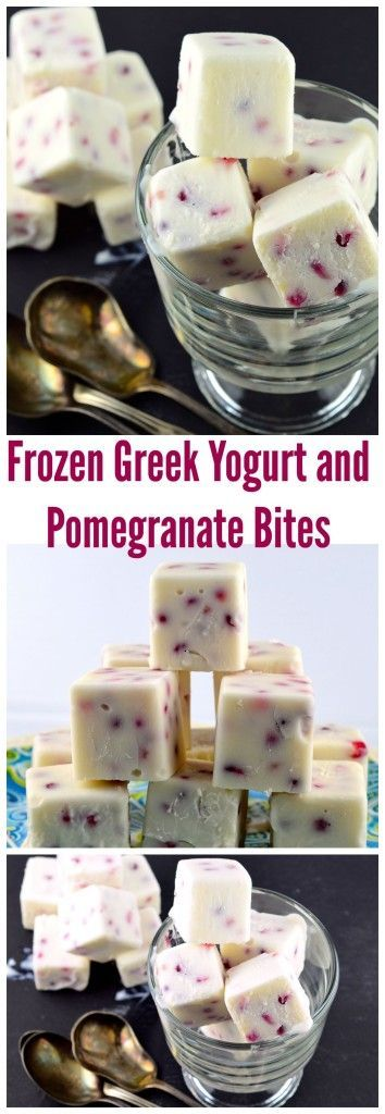 Frozen Greek Yogurt and Pomegranate Bites - You only need 3 ingredients for this easy to make healthy snack or appetizer.