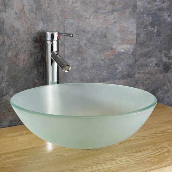 Frosted Glass Ferrara 350mm Round Bathroom Basin Bowl Sink Roundbathroomsinkbowls Woodbathroomsink Glass Sink