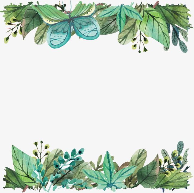 Watercolor Green Leaf Border Watercolor Green Leaves Green Png