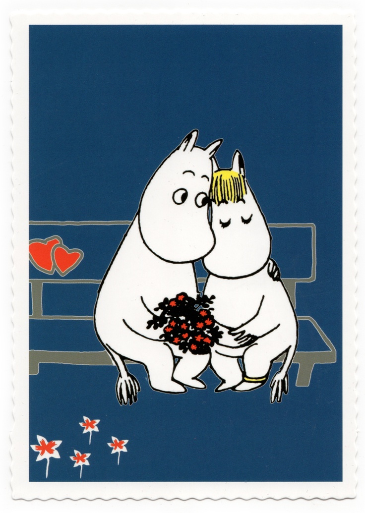Moomintroll and Snorky on the bench