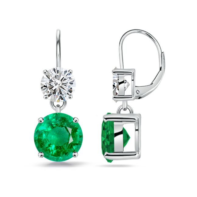 Angara Leverback Emerald Earrings with Diamond
