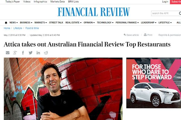 The 2016 Top 100 restaurants in Australia by Financial Review was voted by 500 top chefs in Australia. Attica and Brae are voted as the top two in 2016.
