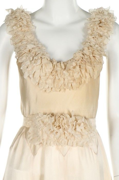 A Jeanne Lanvin couture ivory satin bias-cut evening gown, Winter 1931-32.