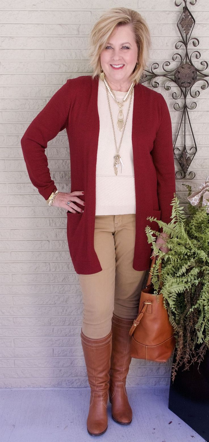 50 IS NOT OLD | NO SOCKS WITH THESE BOOTS | Skinny Pants and Boots | Long Cardigan | Fall colors | Fashion over 40 for the everyday woman